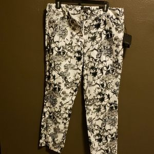 Ankle Length Pants White with black floral pattern